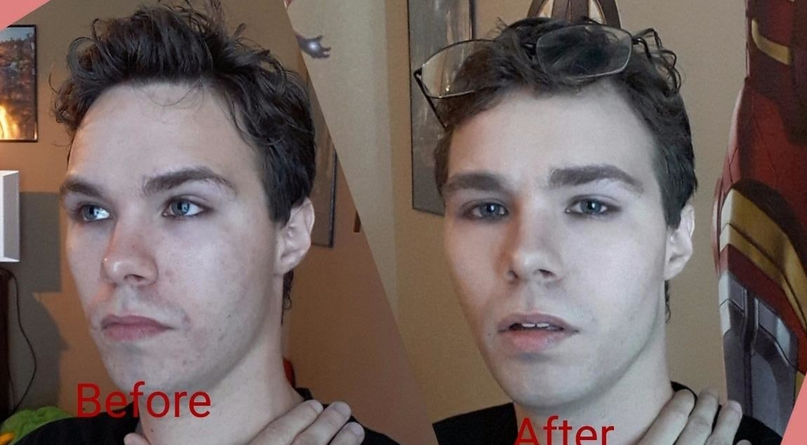Reviewer face before and after using foundation