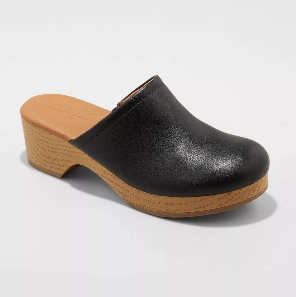 Black clog with faux wooden block heel