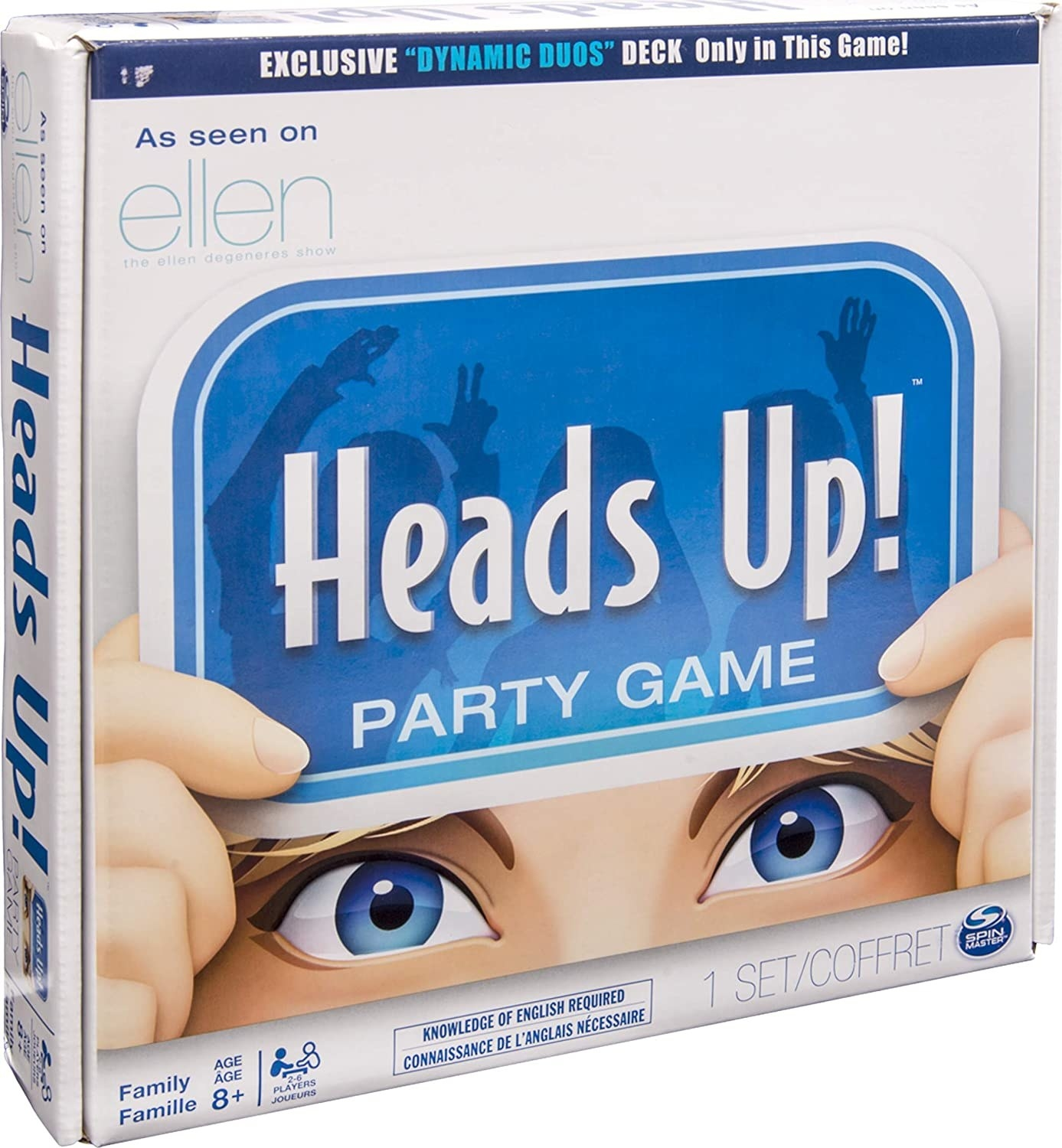 """Photo of a """"Heads Up!"""" board game box."""