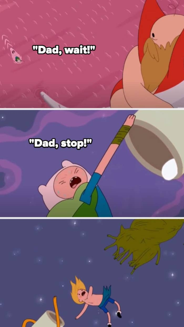 Finn begs his dad to wait/stop, but his dad leaves anyways, and Finn's arm is torn off while trying to keep him there