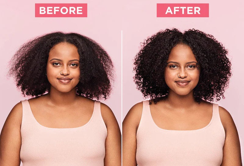 before and after of model with coiled frizzy hair, then defined curls after use