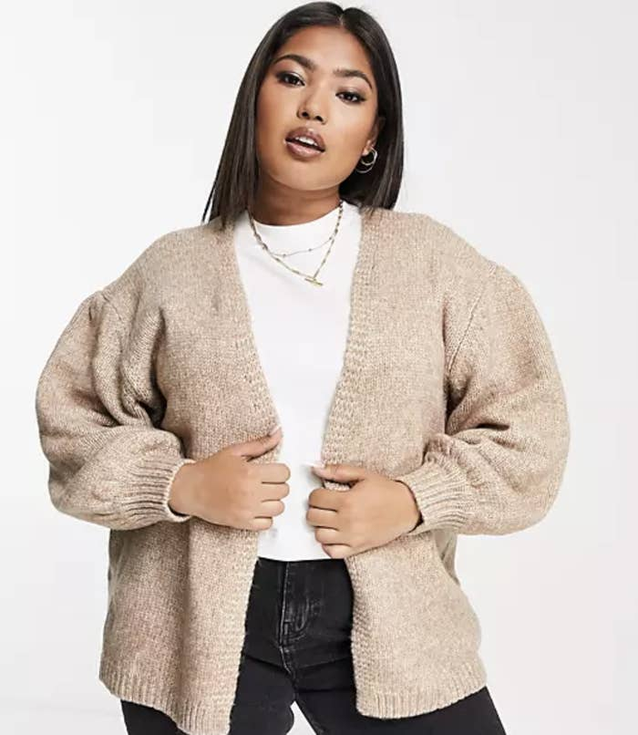 model wearing the taupe cardigan