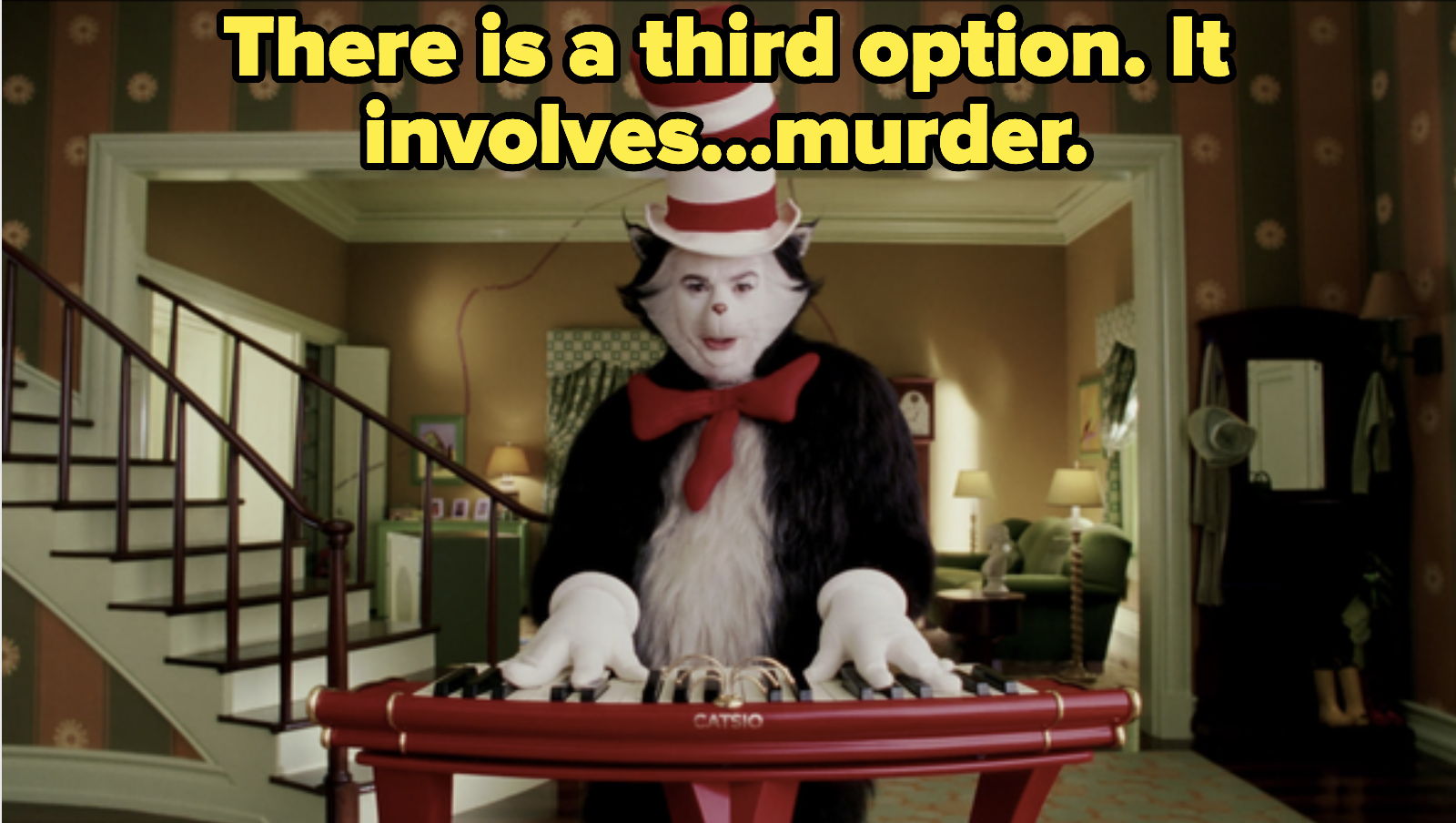 The cat, playing piano and suggesting murder