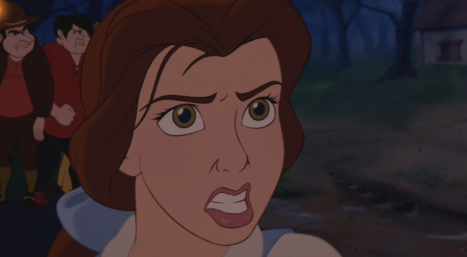 belle with furrowed brows, mouth snarling