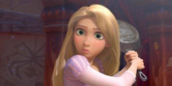 rapunzel holds a pan