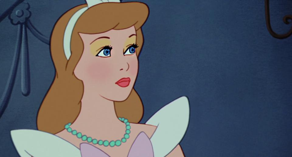 cinderella wearing a headband and pearls