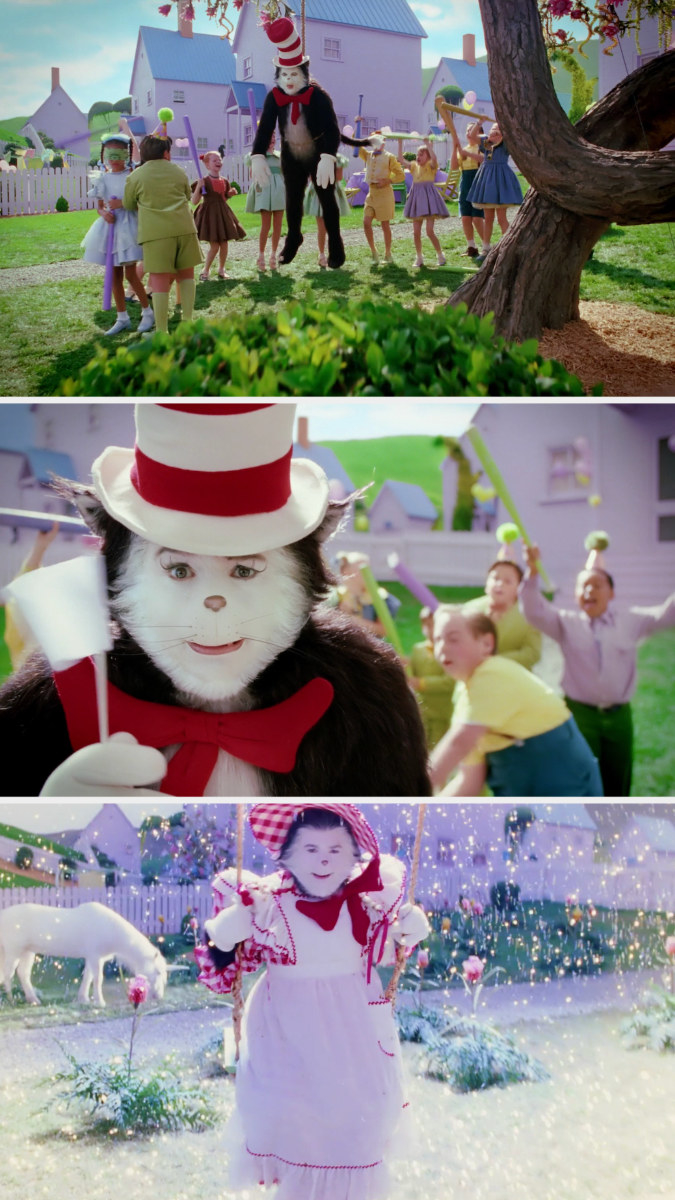 The cat hanging from a tree like a pinata, waving a white flag, and then dressed in a weird colonial outfit while swinging with a white horse in the background