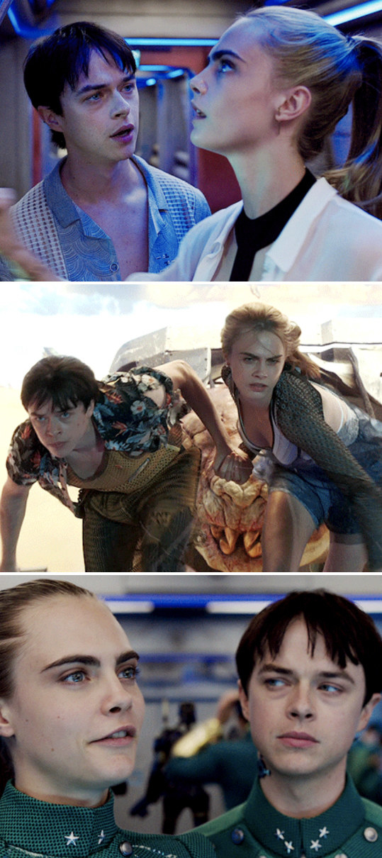 """Three stills of Delevingne and DeHaan in """"Valerian and the City of a Thousand Planets"""""""