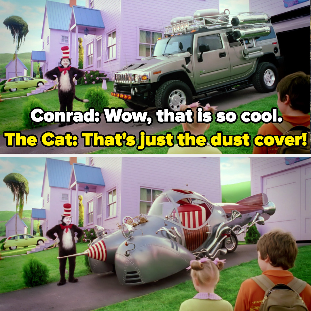 The cat has a hummer dustcover for his cartoonish car