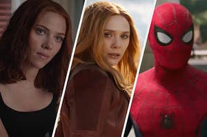 Natasha Romanoff wears a dark tank top, Wanda Maximoff looks over her shoulder, and a close up of Spider-Man in his costume