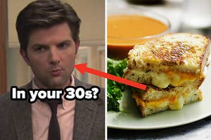 """A close up of Ben Wyatt mid sentence from """"Parks and Recreation"""" and a grilled cheese sandwich cut in half next to a bowl of soup"""