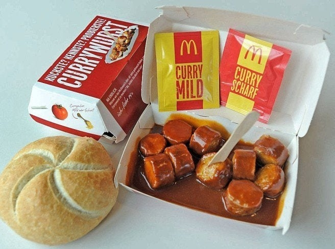 Currywurst from German McDonald's.