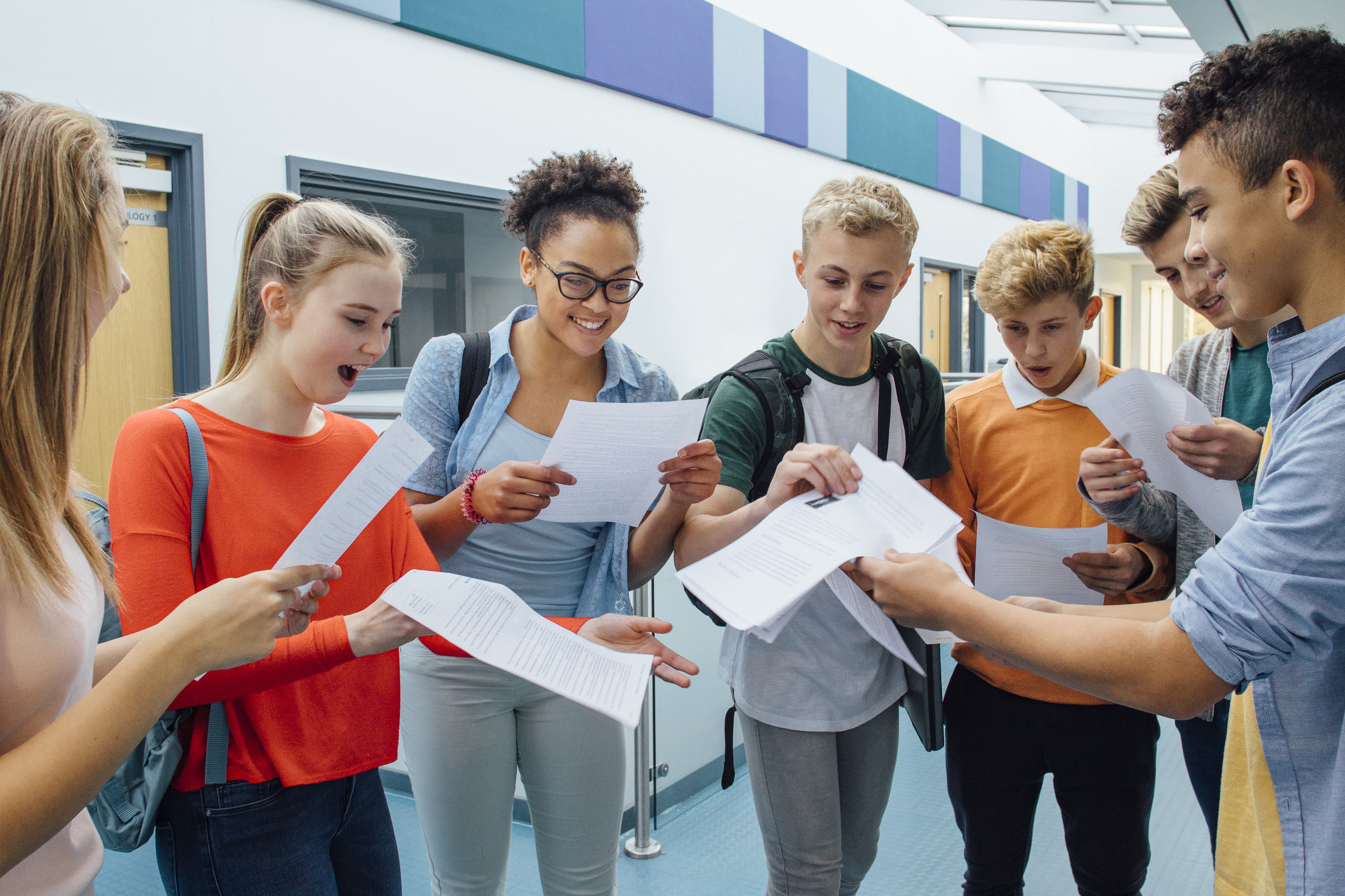 students getting test results