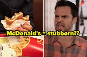 """A hand holds a half eaten McDonald's burger and a close up of Nick Miller from """"New Girl"""""""
