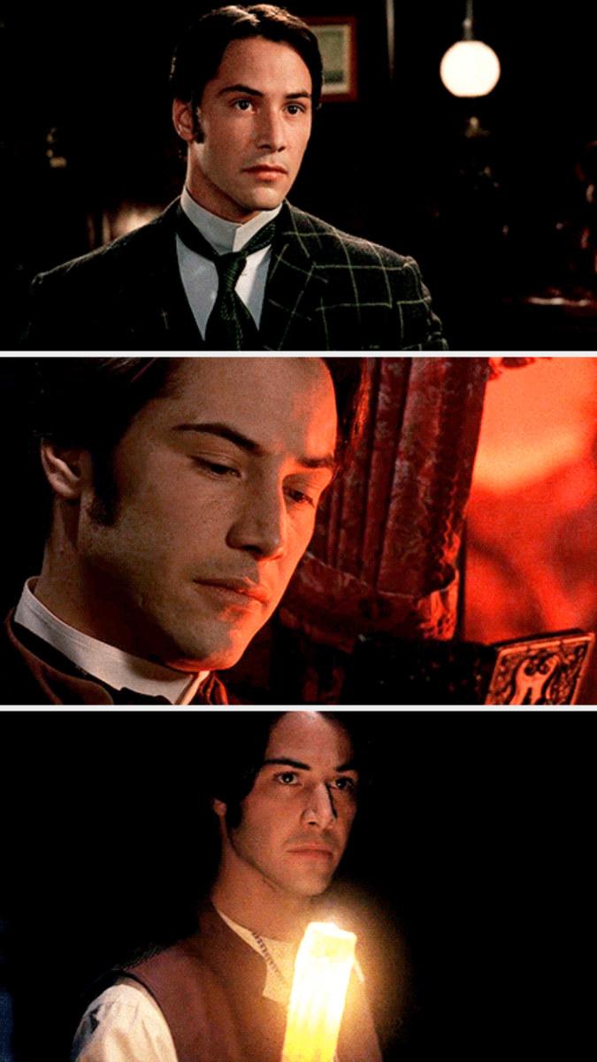 """Keanu Reeves in three separate frames in """"Bram Stoker's Dracula"""""""