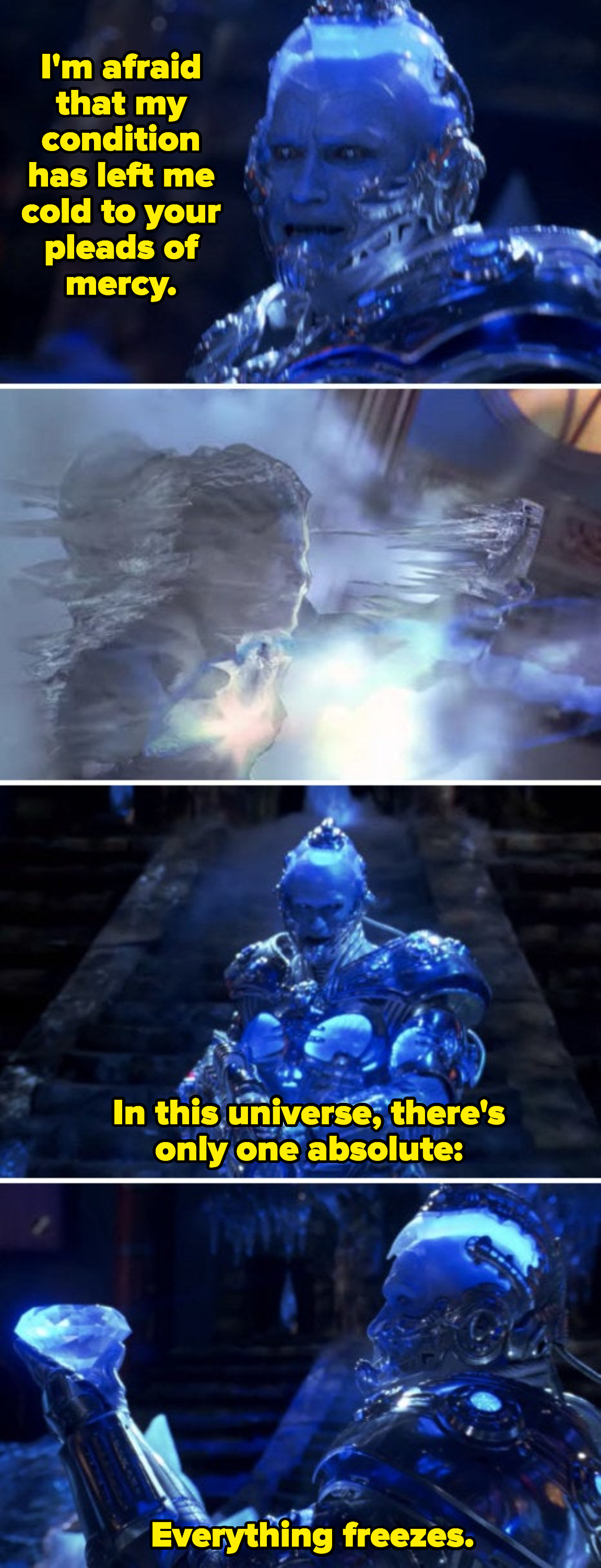 """Mr. Freeze talking to himself, saying: """"In this universe, there's only one absolute: Everything freezes"""""""