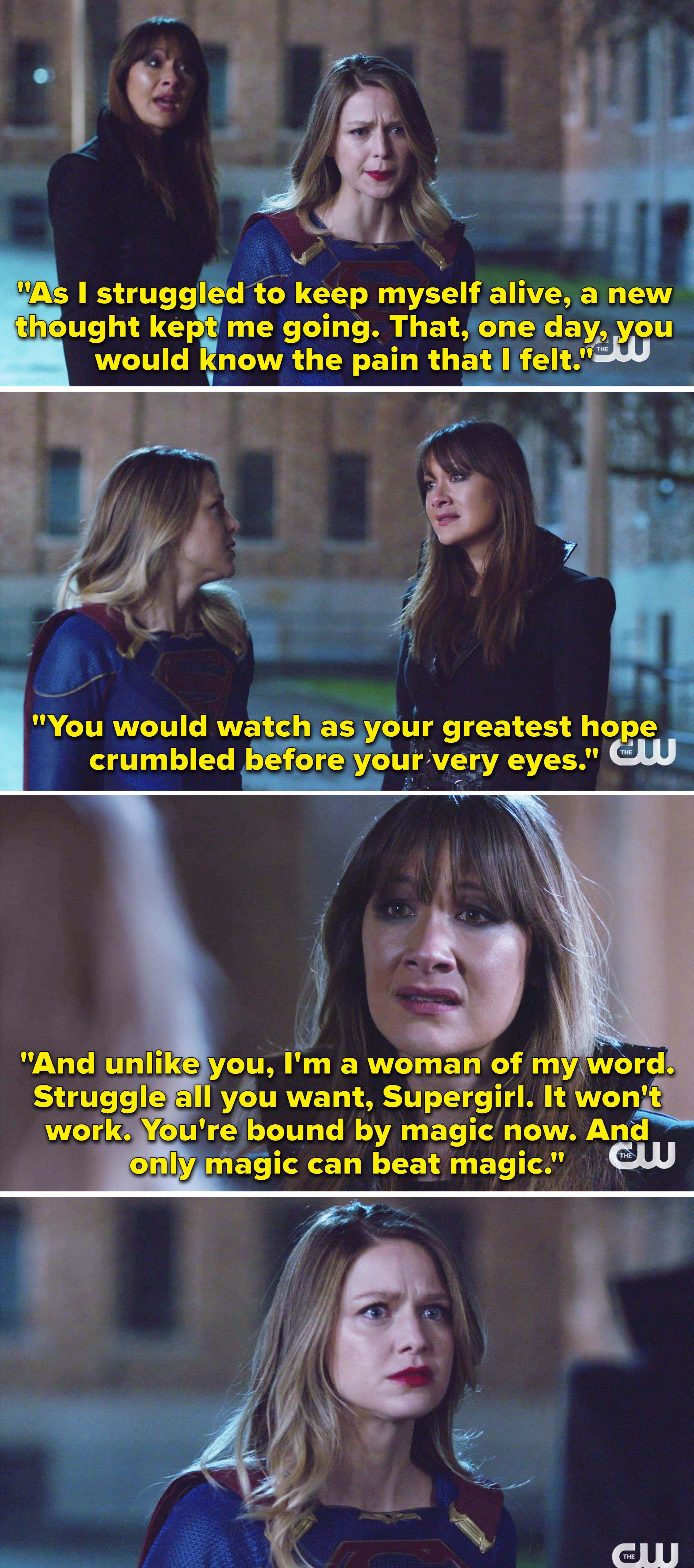 Nyxly telling Supergirl she wants to destroy everything she loves and she can't escape because of magic