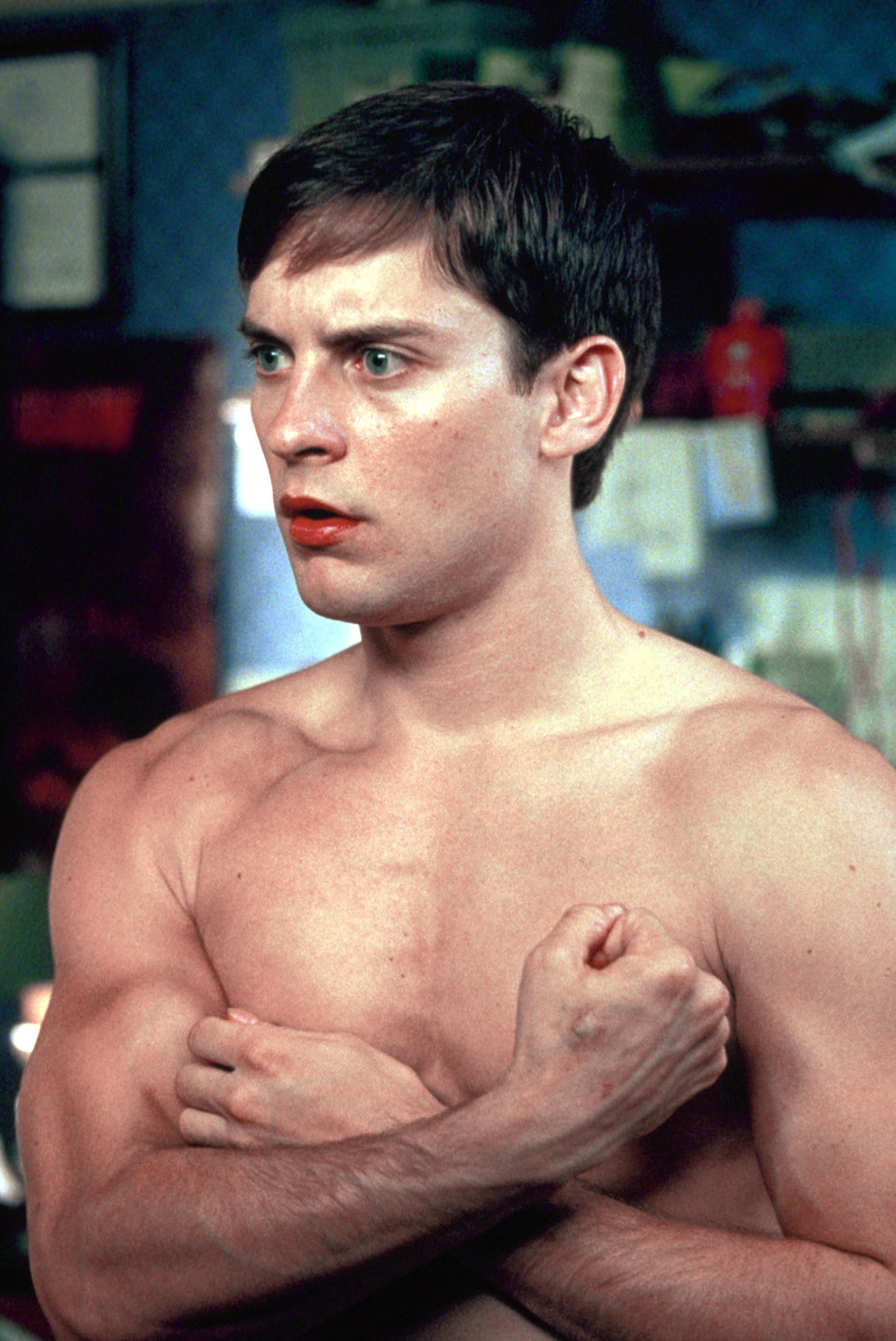 "A shirtlessTobey Maguire in ""Spider-Man"""