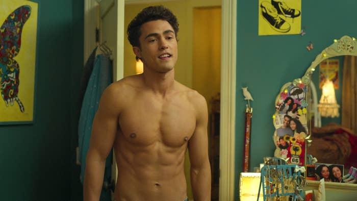 "A shirtless Darren Barnet in ""Never Have I Ever"""
