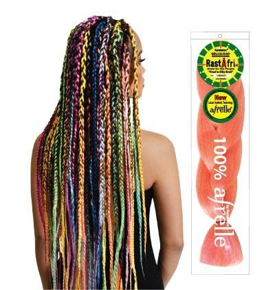 model wearing braid extensions that twist at the end and are all different colors mixed in with dark brown