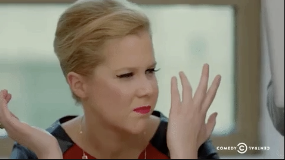 Amy Schumer looking annoyed and confused