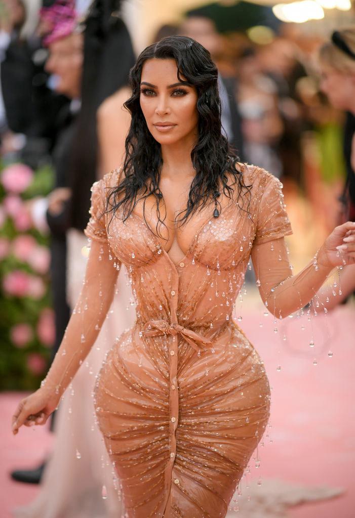 Kim Kardashian arriving at the Met Gala carpet