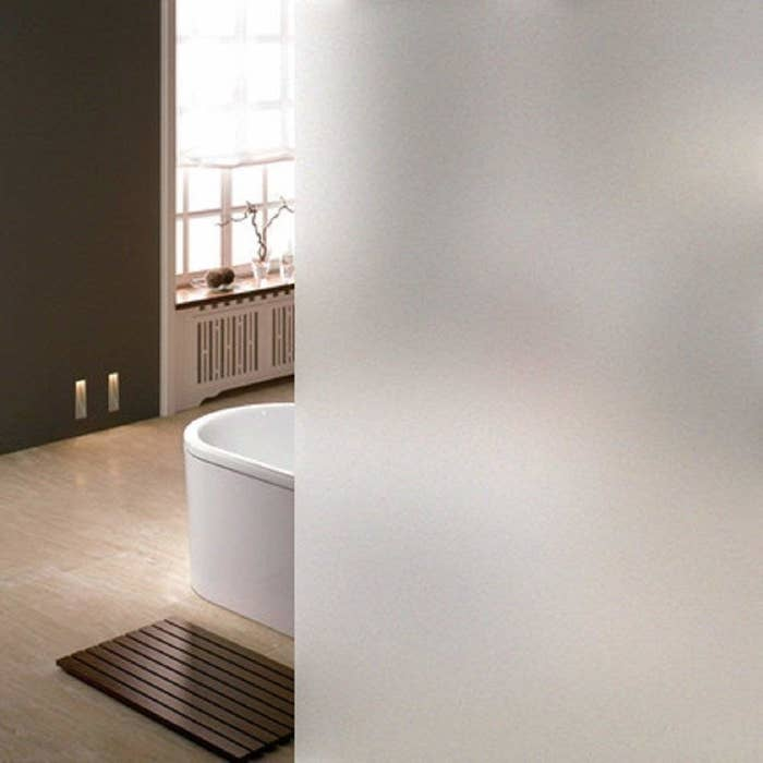 bathroom with a frosted glass look for privacy