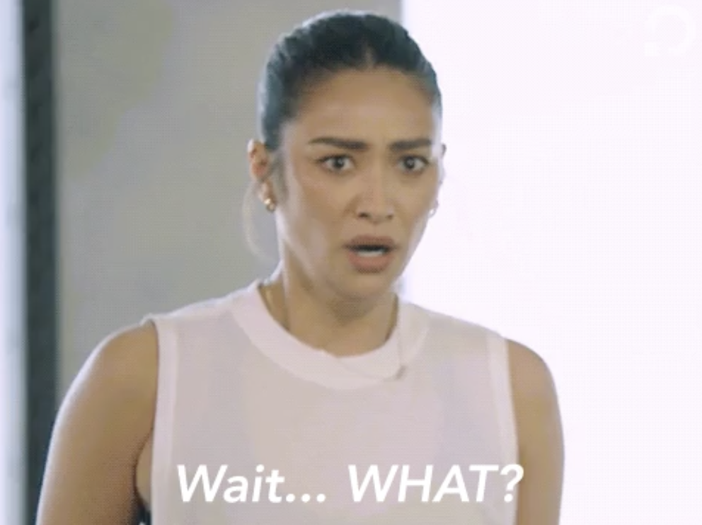 """Shay Mitchell looking shocked and saying """"Wait what"""""""