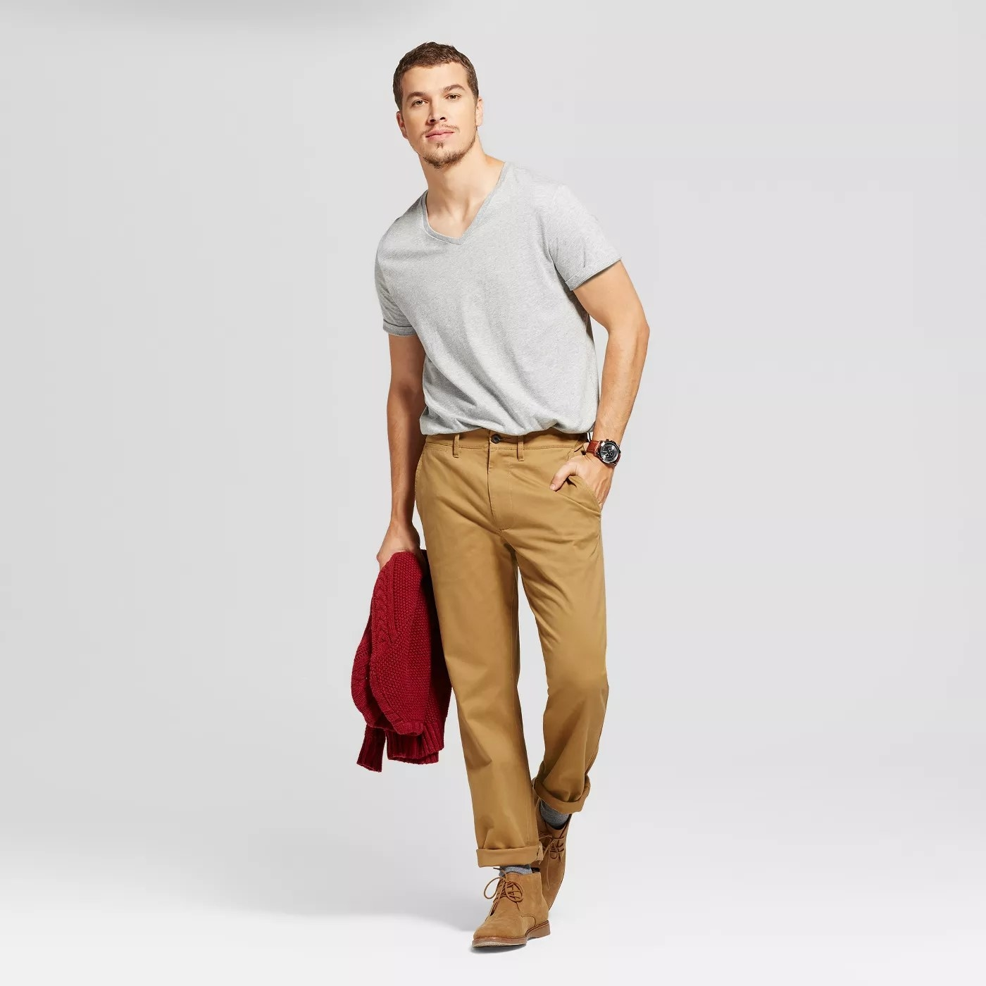 A model wearing a pair of khakis