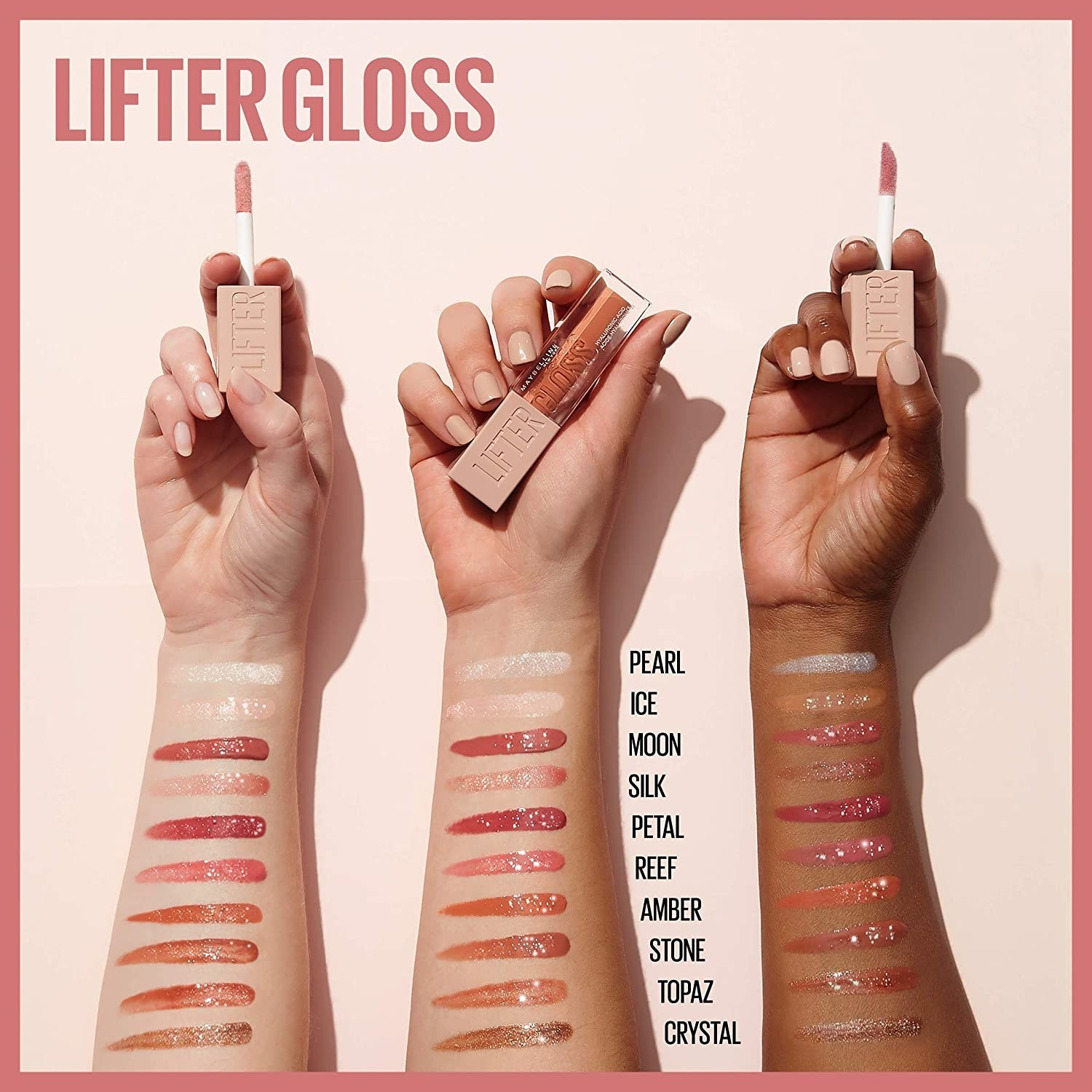 Swatches of the gloss shades on three arms with different skin tones
