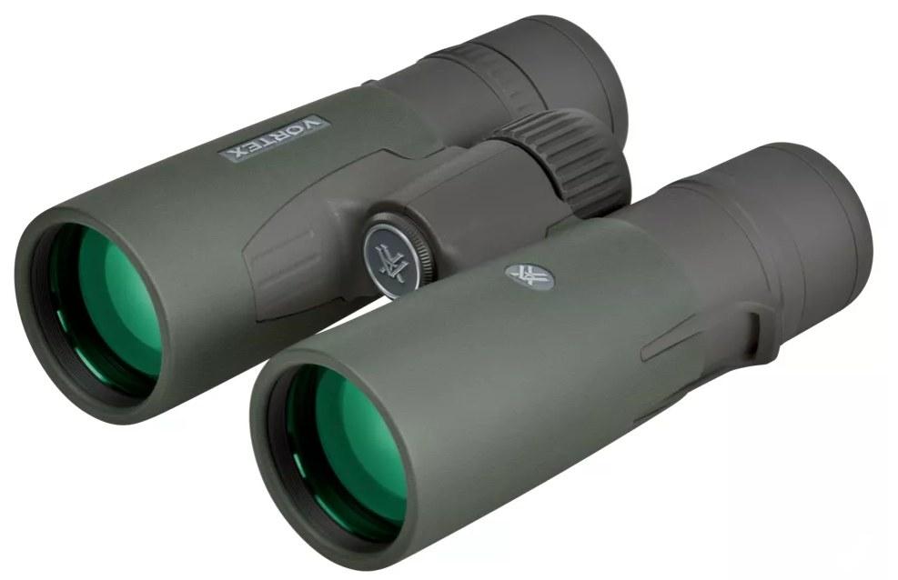 A pair of green tinted binoculars