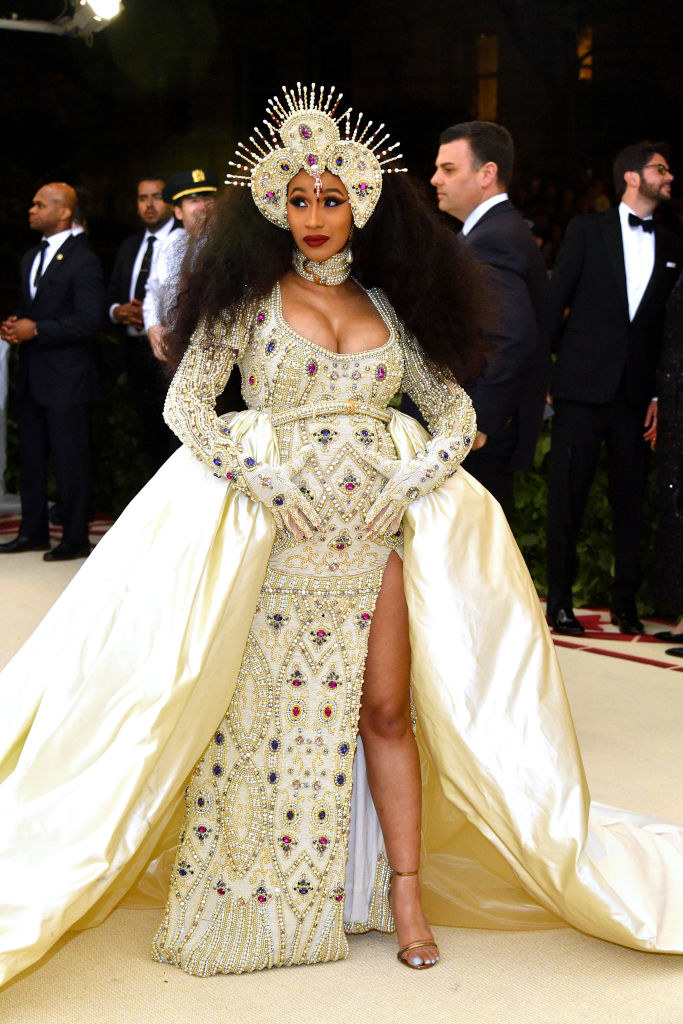 Cardi B arriving at the Met Gala carpet