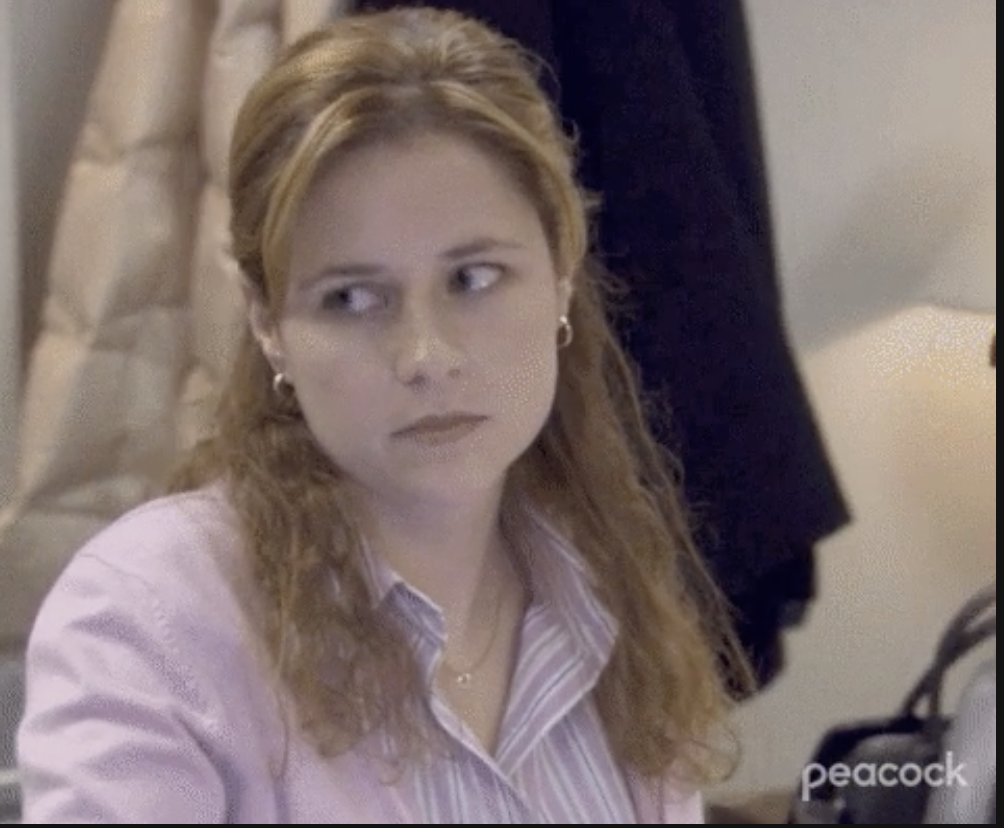 """Pam from """"The Office"""" looking annoyed"""