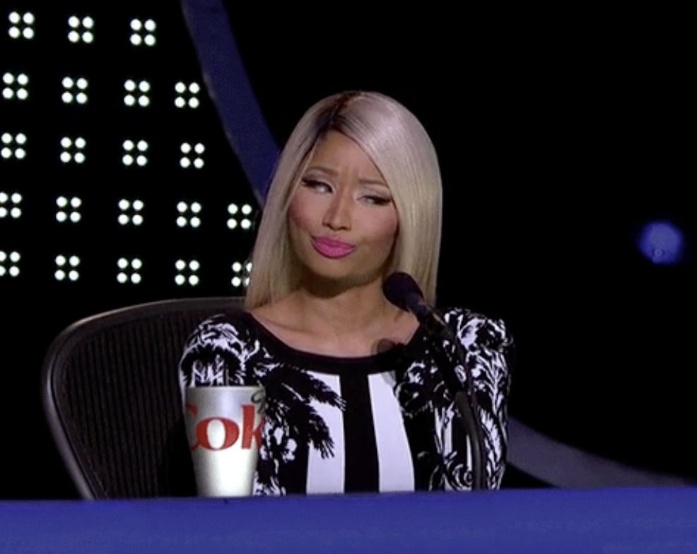 Nicki Minaj looking frustrated
