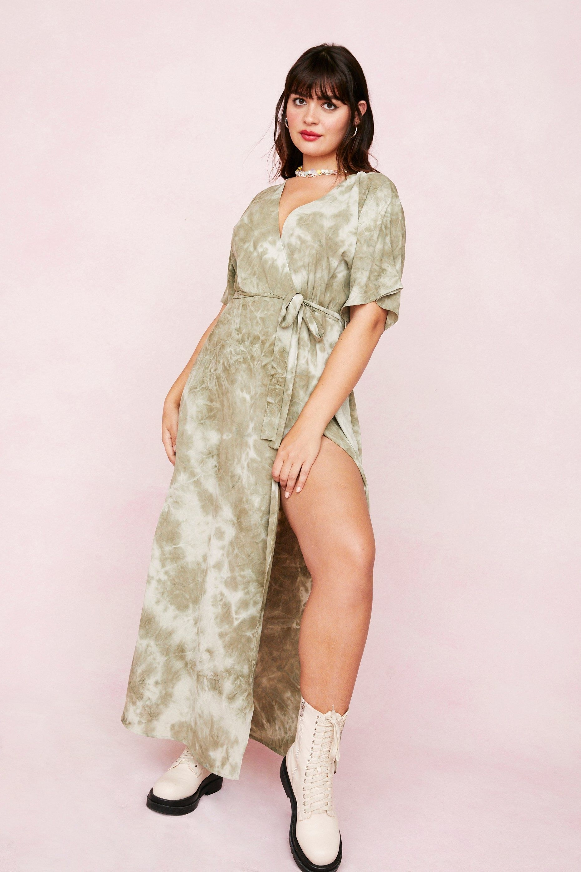 the olive and white tie-dye dress