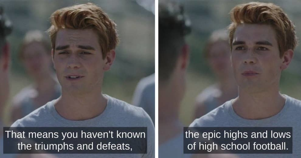 """Archie in """"Riverdale"""" saying """"epic highs and lows of high school football"""""""