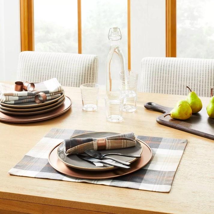 The napkins set on a table