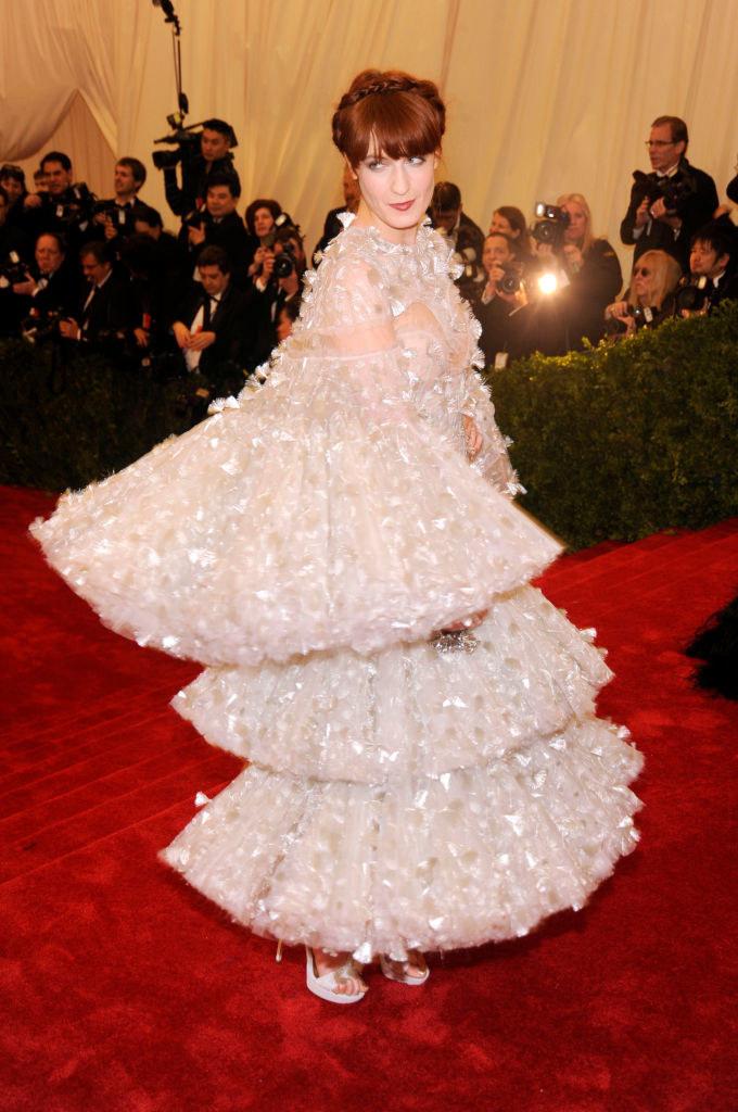 Florence Welcharriving at the Met Gala carpet
