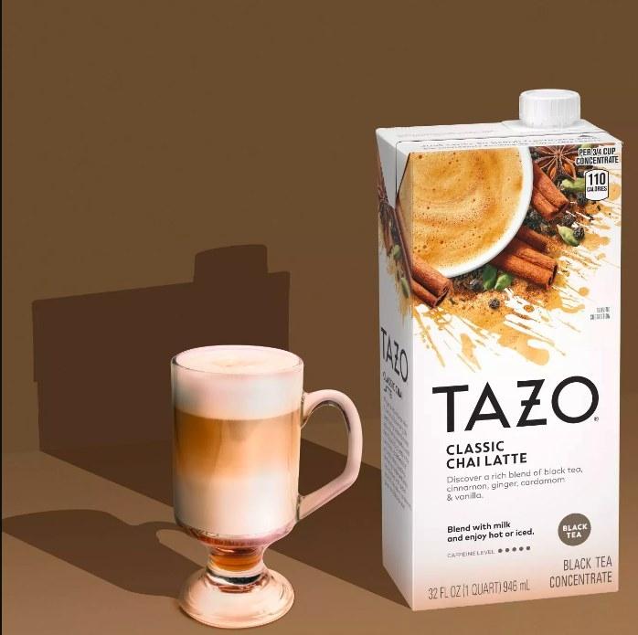 The chai tea concentrate next to a creamy foaming chai latte