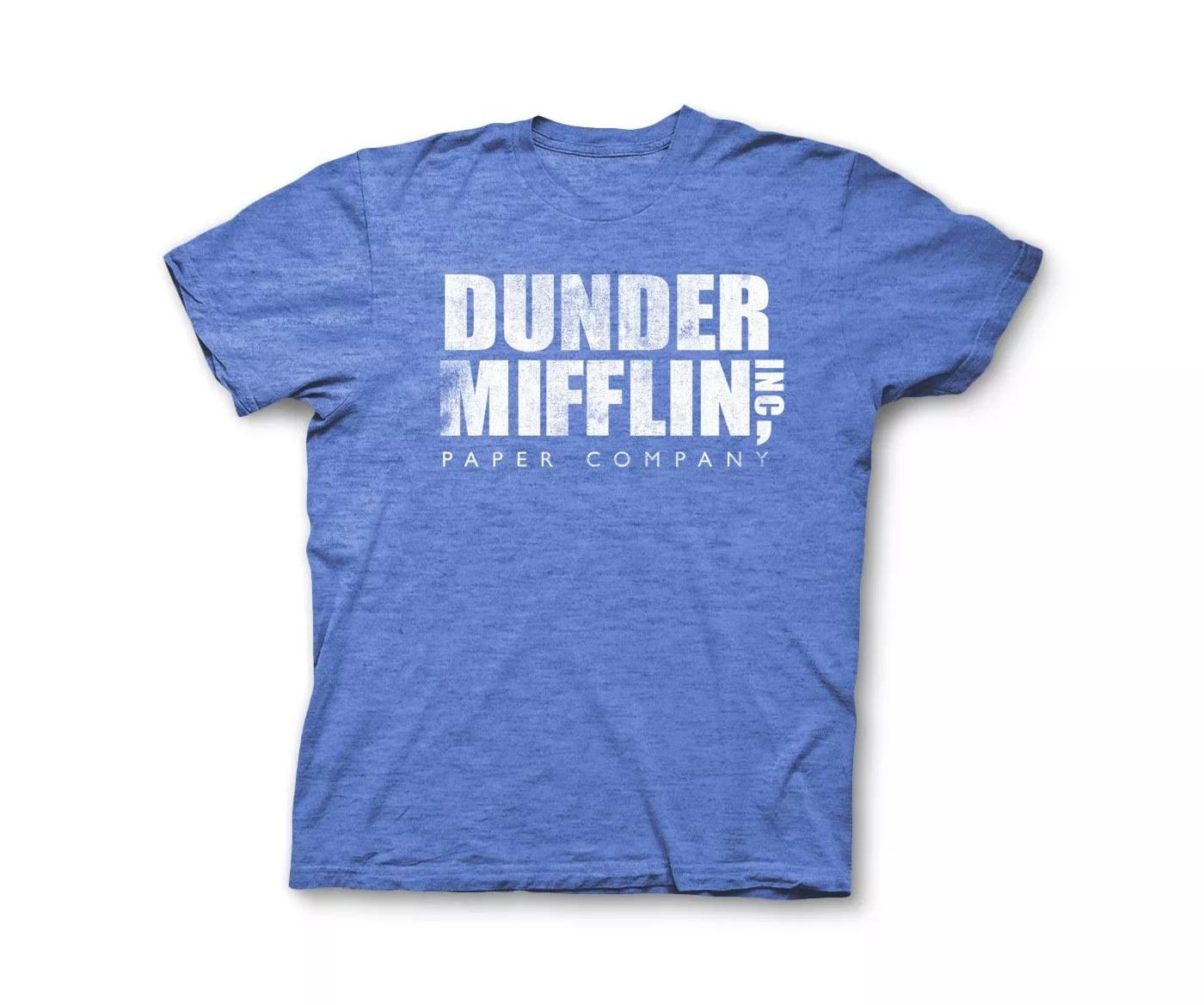 A blue Dundler Mifflin t-shirt