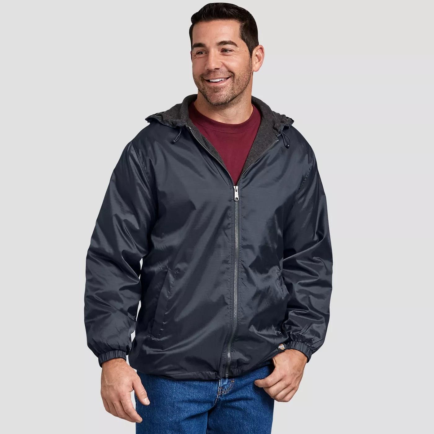 A dark blue rain jacket