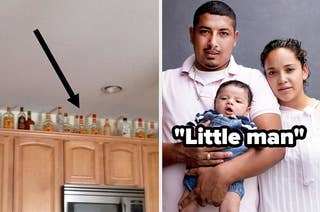 liquor bottles and little man and a baby