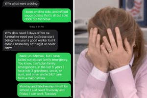 text screenshot of a boss talking to an employee, next to a crying pam beesly with her head in her hands