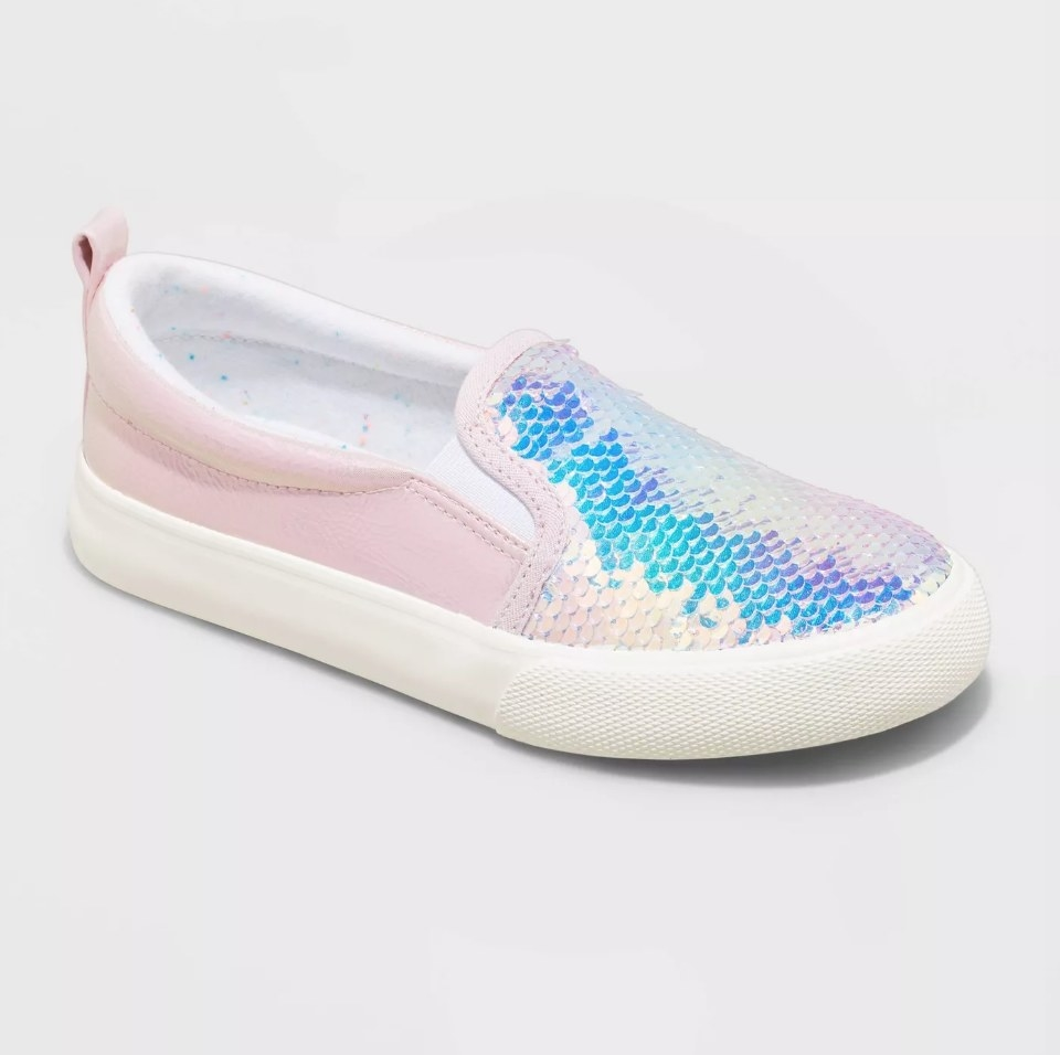 Pink slip on sneakers with sequin front
