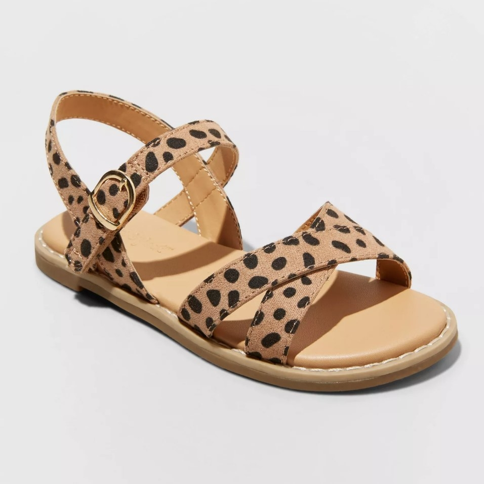Kids leopard print strappy sandal with brown sole
