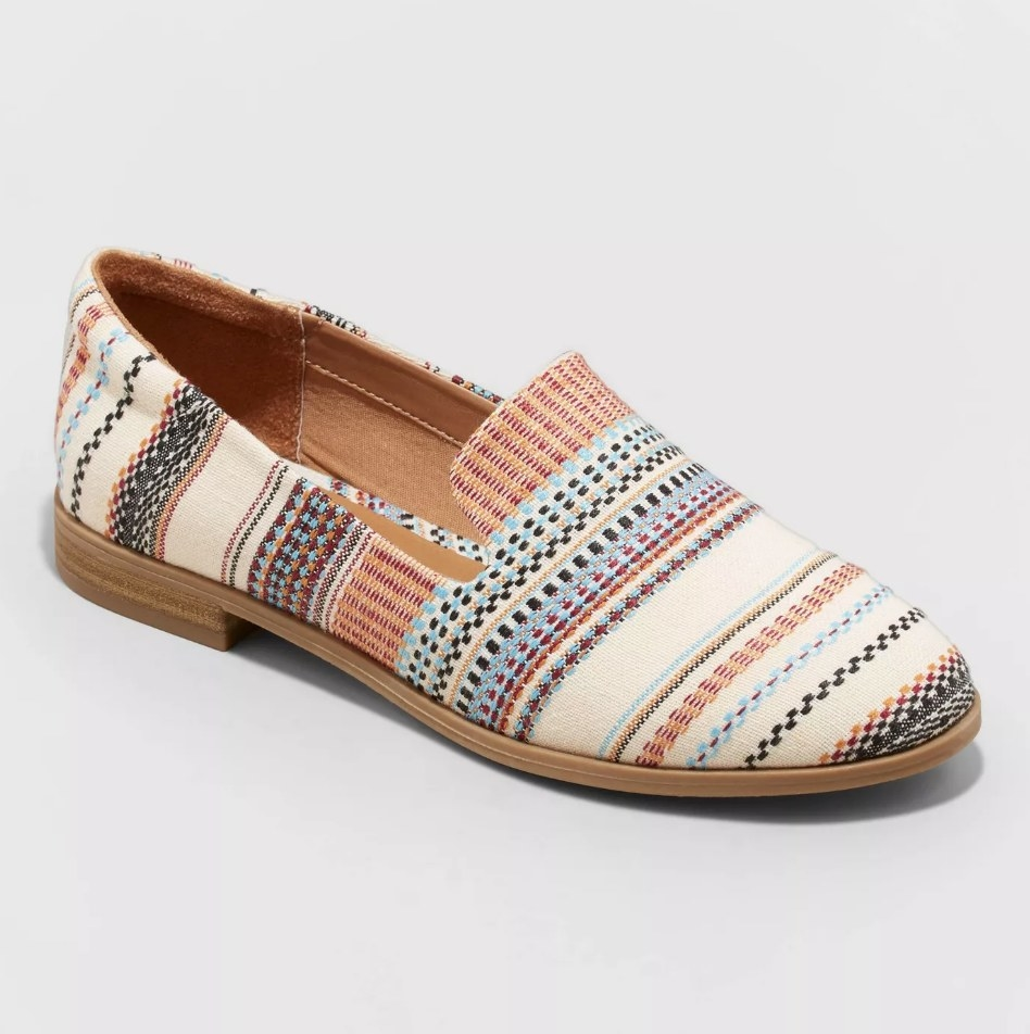 Multicolored patterned loafers