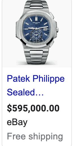 A Patek watch on sale on eBay for $595,000