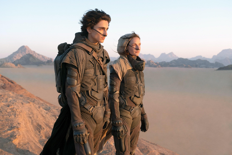 Timothée Chalamet standing with a woman in desert landscape