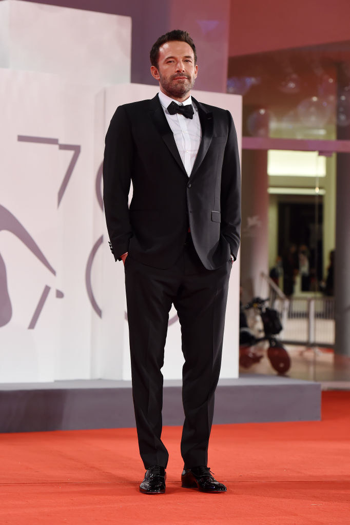 """Ben Affleck attends the red carpet of the movie """"The Last Duel"""" in a black tux and bow tie"""