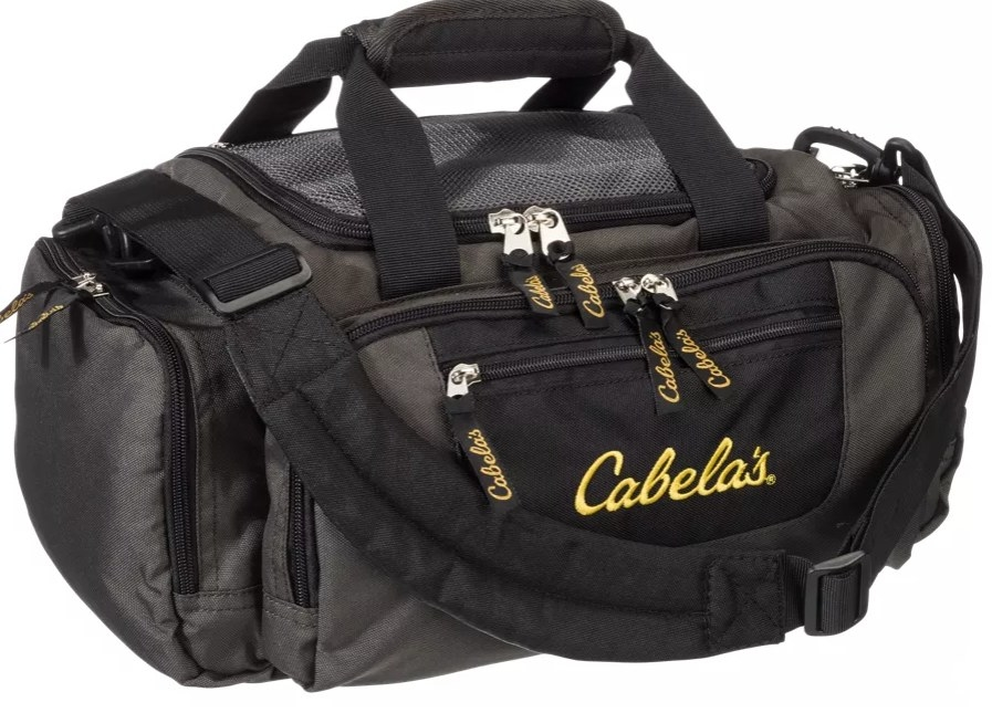 A black bag with Cabela's written in yellow